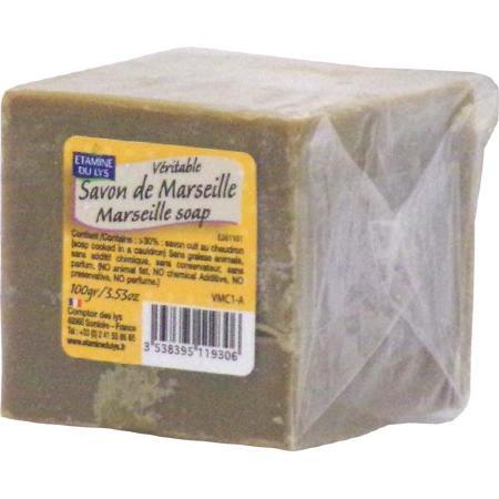 Savon de marseille vert cube 100g etamine du lys gamme r tro - Veritable savon de marseille ...
