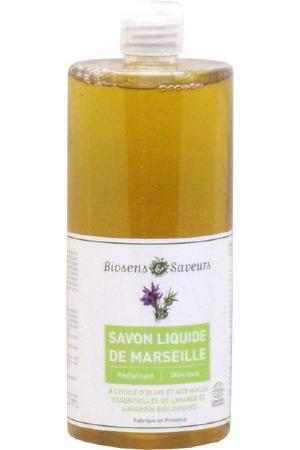 savon liquide de marseille l 39 huile d 39 olive et aux huiles essentielles bio marque biosens. Black Bedroom Furniture Sets. Home Design Ideas