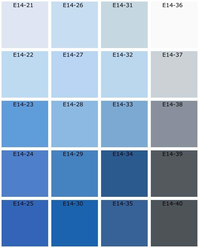 Nuanciers tassili natura les bleus - Palettes de couleurs peinture murale ...
